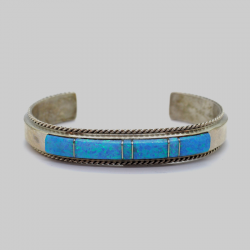 """Navajo"" (Indian Antique) Bracelet with Turquoise Natural Stones"