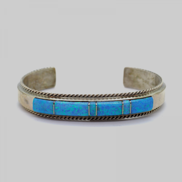 """""""Navajo"""" (Indian Antique) Bracelet with Turquoise Natural Stones"""