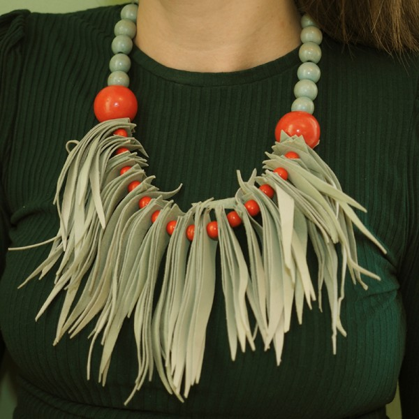 """Handmade """"Fringe"""" Necklace with Wood and Leather by Gianna.V"""