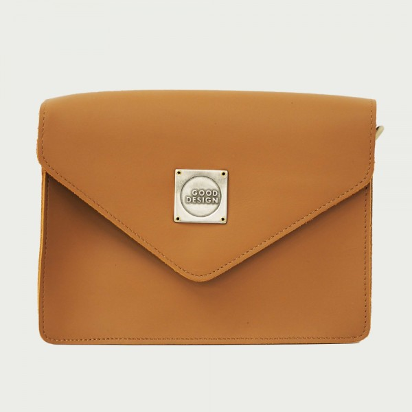 Good Design® Cross Body Nature Leather Bag with Metal Signature Branding