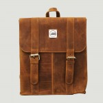 Good Design® Waxed Light Brown Leather Backpack with Metal Signature